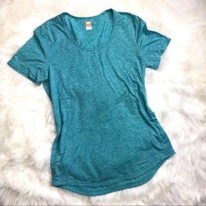 Lucy blue workout short sleeve top tee size medium